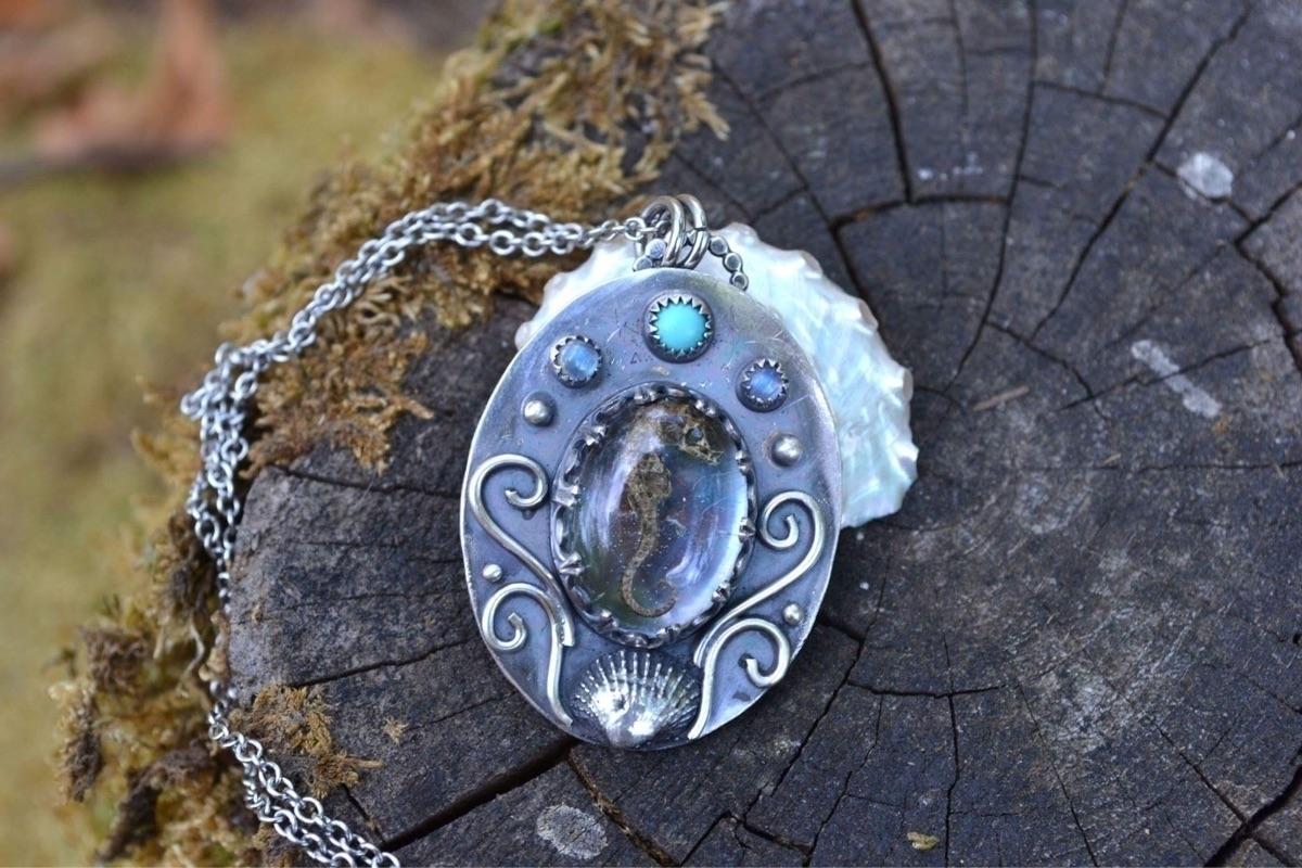 Real seahorse pendant Moonstone - lunafloradesigns | ello