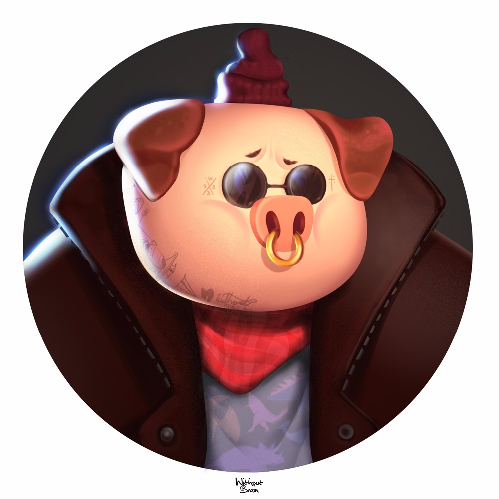 hipster pig - withoutbrain | ello
