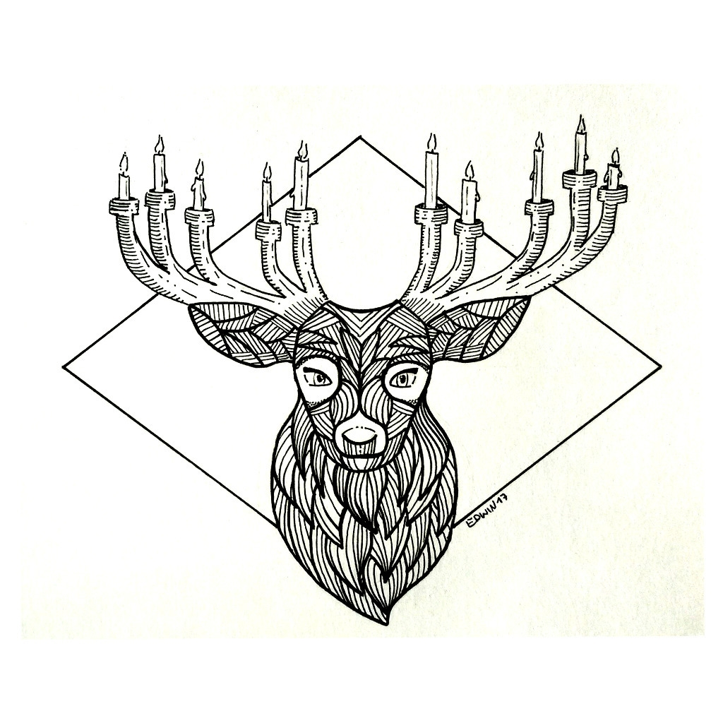 Inktober - graceful deer | 17.1 - edwln | ello
