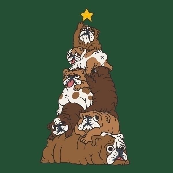 Christmas Tree English Bulldog - huebucket | ello