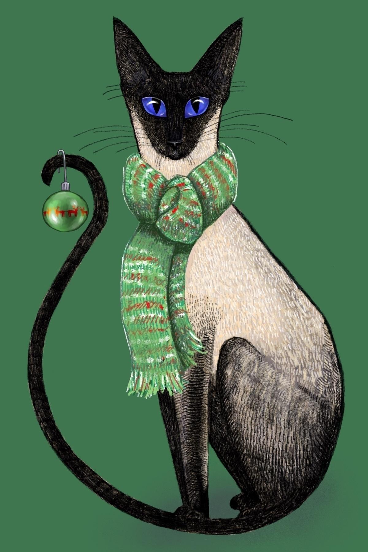 Christmas Siamese - cat, art, illustration - reneeleigh | ello