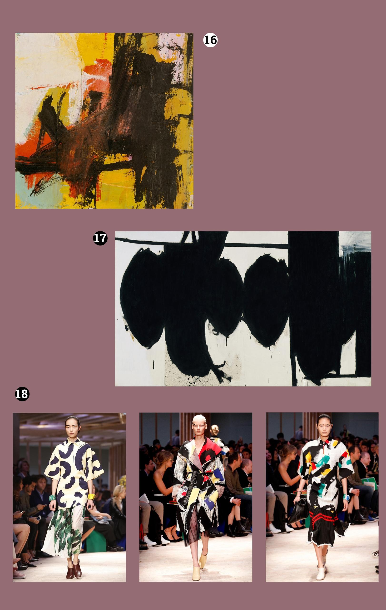Obraz przedstawia pięć fotografii. Na dwóch z nich widzimy obrazy znanych artystów, a na trzech pozostałych modelki na wybiegu. Całość na fioletowym tle.