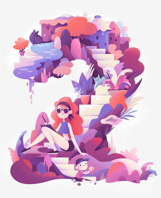 number 2 - illustration, lettering - zuttoworld | ello