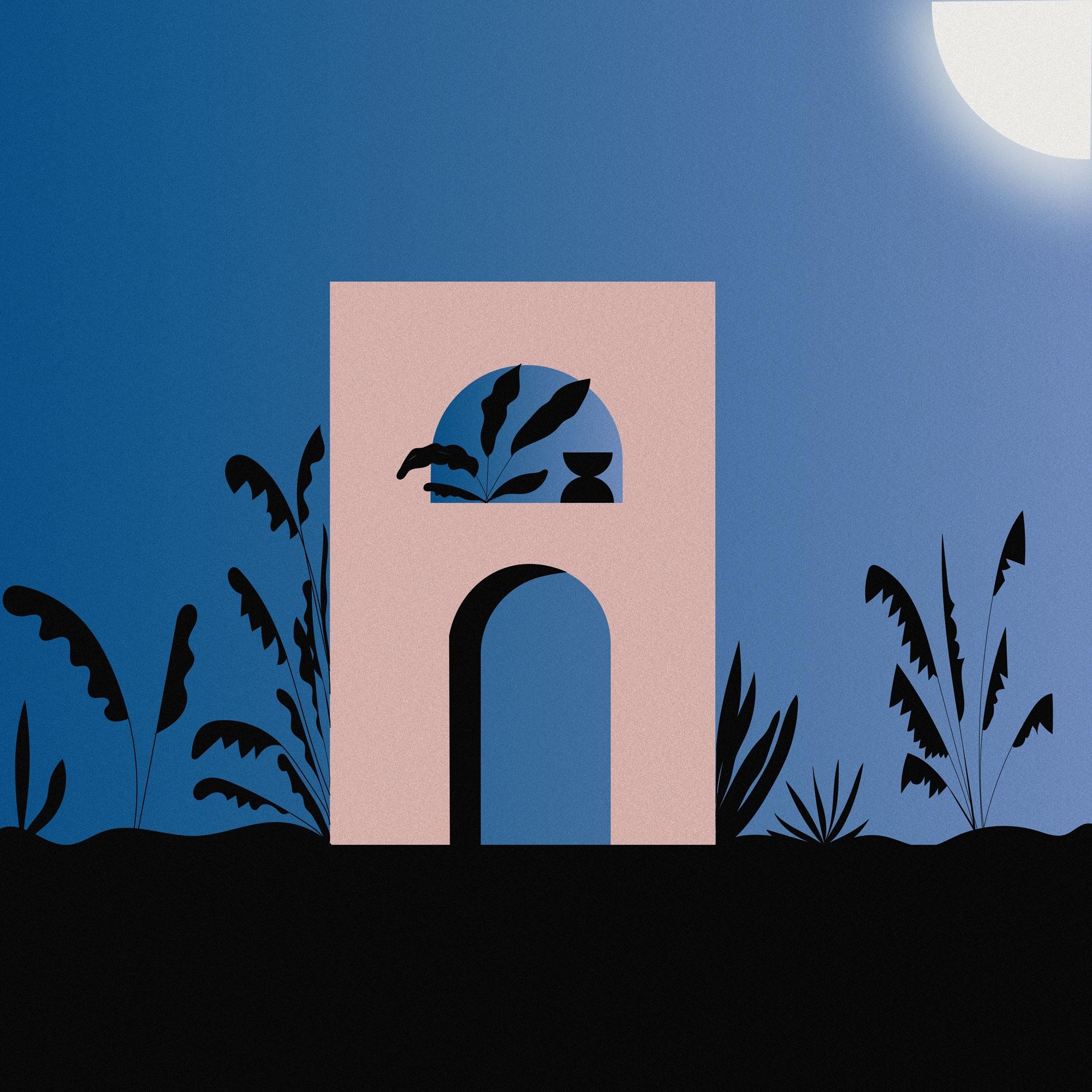 (Night - illustration, art, abstract - alejandragarcia | ello