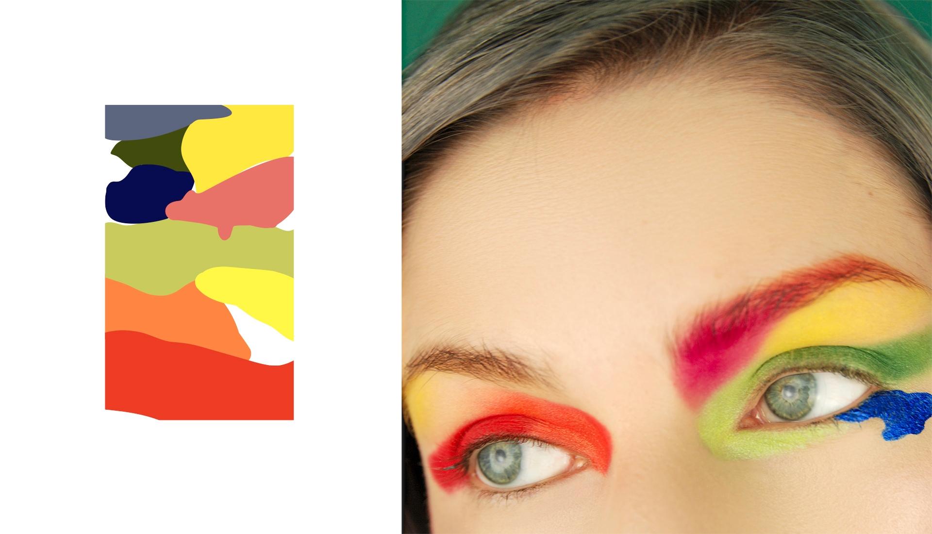 Obraz przedstawia kolorową kompozycję z lewej strony oraz fotografię damskich oczy z prawej strony.