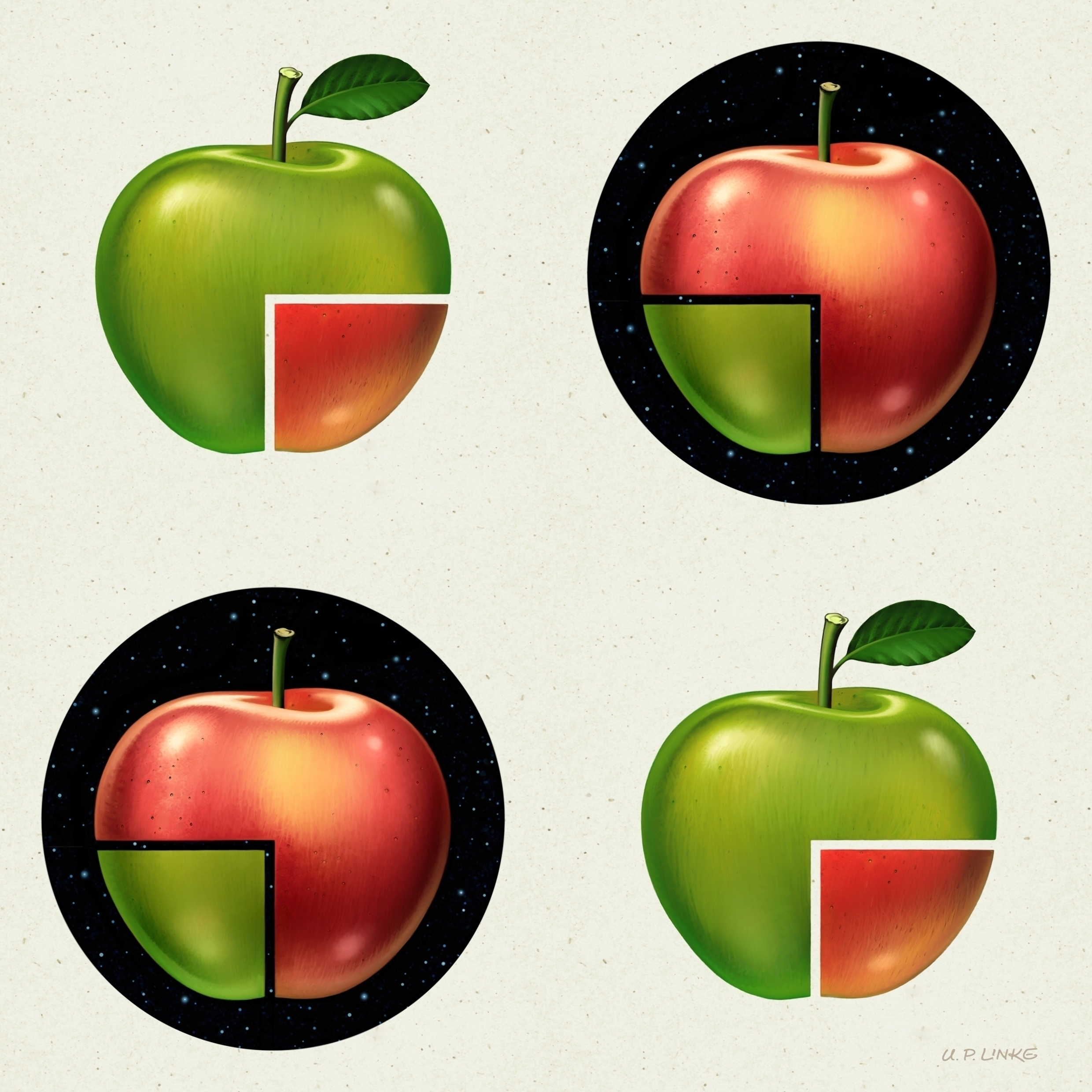 DIVIDED APPLE PATTERN pattern a - retropop | ello