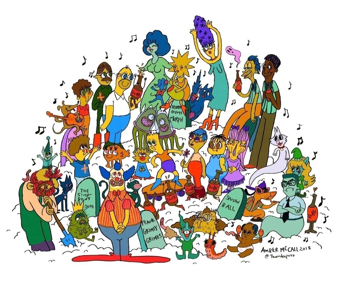 Simpsons Graveyard Party - ambermccall - thunderpuss   ello